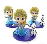 Yangzou Frozen Princess Character Toy 12-16 Cm, Decoración Linda Versión Q Doll Hecho A Mano Sorpresa De Cumpleaños Decoración De Adorno De Muñeca (3Pcs / 1 Set)