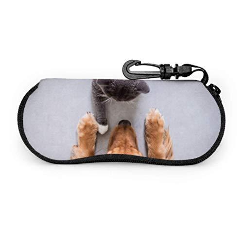 DAIDYA Brillenetui, Britisch Kurzhaar Katzen Golden Retriever Sonnenbrille Weichetui Ultraleichtes Neopren-Reißverschluss-Brillenetui mit Karabinerhaken, Doppel-Brillenetui