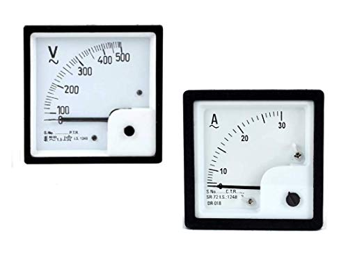 ERH India Analog Ampere Meter (0-30A) Analog Voltmeter (0-500v) AC 72mm Size