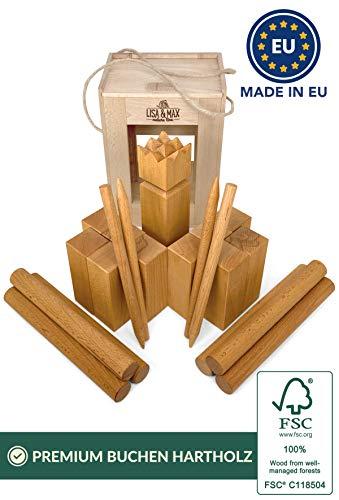 LISA & MAX Kubb Original Wikingerschach Robustes Premium FSC® Buchenholz Made in EU - Offizielle Turniermaße