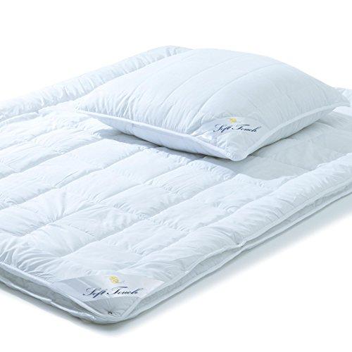 aqua-textil Soft Touch Bettdecke 4 Jahreszeiten 135 x 200 cm Set inkl 1x Kopfkissen 80 x 80 cm Winter Sommer Steppdecke