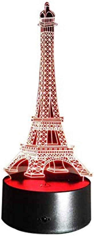 Neuheit Lampe, Eiffelturm-Nachtlicht 3D LED 5 Farbverlufe Druckschalter Kreative Artwork Desktop Dekoration Micro-Aufladung Blautooth Audio , Mehrfarben-Umgebungslicht
