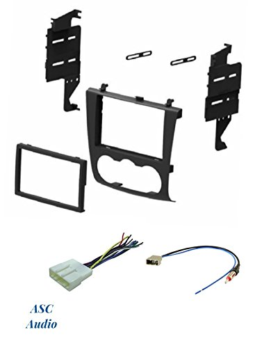ASC Audio Car Stereo Install Dash Kit, Wire Harness and Antenna Adapter for Installing a Double Din Aftermarket Radio for 2007 2008 2009 2010 2011 2012 Nissan Altima w/Manual Climate Knobs Only