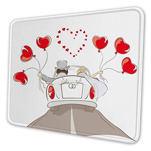 Rechthoekige Mousemat muismat, pasgetrouwd paar in vintage auto met hartvormige ballonnen tekening