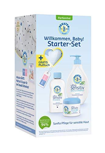 Penaten Ultra Sensitiv Starter Set für sensible Babyhaut, Bad & Shampoo 400 ml, Pflegeöl 200 ml, Pflegecreme Gesicht & Körper 100 ml, Gratis Mulltuch