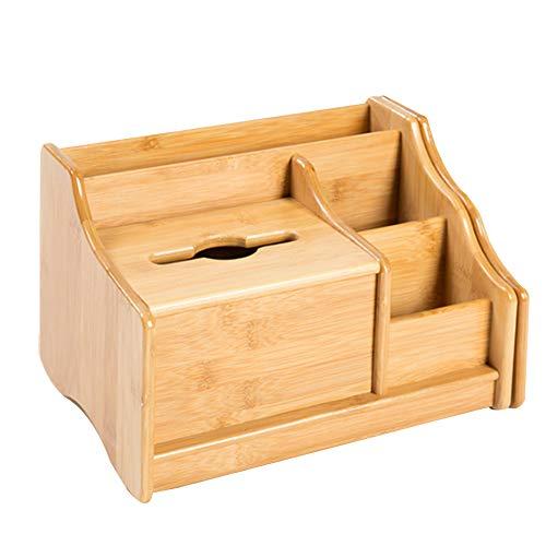 YYMM Caja de Almacenamiento Multifuncional, Caja de Tejido de Madera de bambú con estantería Ajustable Oculta, Caja de Acabado de Mesa de baño a Prueba de Humedad, para Uso en la Oficina en casa
