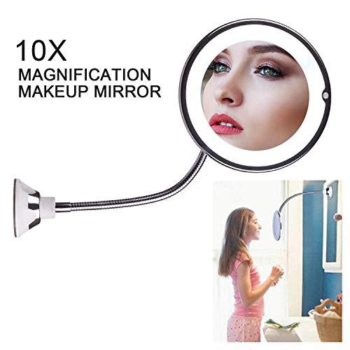 ZZSQ Miroirs Cosmétiques Muraux Miroir Grossissant Miroir De Maquillage Luminueux De Coiffeuse, 10X Grossissement 360 Degrés Rotation Pliable 3 Piles AAA Requises (Non Fournies)