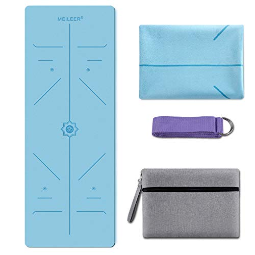 KUYOU Yoga Mat Foldable 1/16 Inch Thick Non-Slip Travel Yoga Mat Cover Pad Sweat Absorbent and Soft Lightweight Exercise Workout Mat with Stretch Band Strap for Yoga Pilates and Fitness (Light Blue)