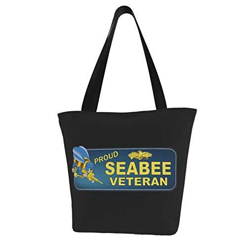 Proud Seabee Veteran Bumper Durable with Large Capacity Shoulder Bag