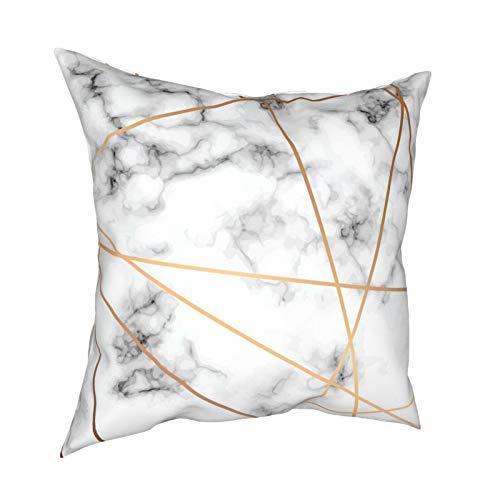 Fundas de almohada de mármol gris con líneas geométricas doradas, 45,7 x 45,7 cm – impresión de doble cara, fundas de almohada decorativas cuadradas para sofá, cama, coche
