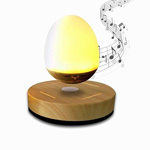 NASKY Maglev Levitation Bluetooth Speakers with Wood Grain Base LED Bulb Portable Wireless Smart Floating Night Light Lamp