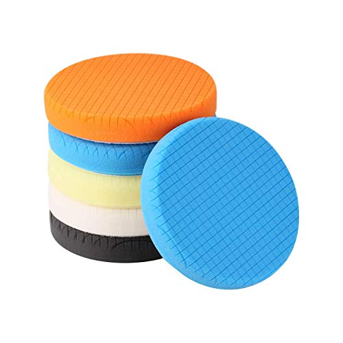 SPTA 5Pcs 5.5' Face for 5' Backing Plate Compound Buffing Sponge Pads Polishing Pads Kit Buffing Pad for Car Buffer Polisher Sanding,Polishing,Waxing
