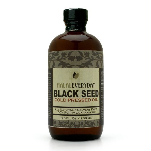 HalalEveryday - 8 oz Pure Black Seed Oil, Glass Bottle, Unfiltered, Undiluted, Dark and Potent - 100% Pure and Cold Pressed Black Cumin Seed Oil - Non GMO - Vegan - Halal