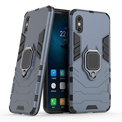 Yoodi Capa para Xiaomi Mi 8 Pro, capa protetora híbrida à prova de choque com anel magnético 2 em 1 capa de proteção de camada dupla para Xiaomi Mi 8 Pro - azul-marinho