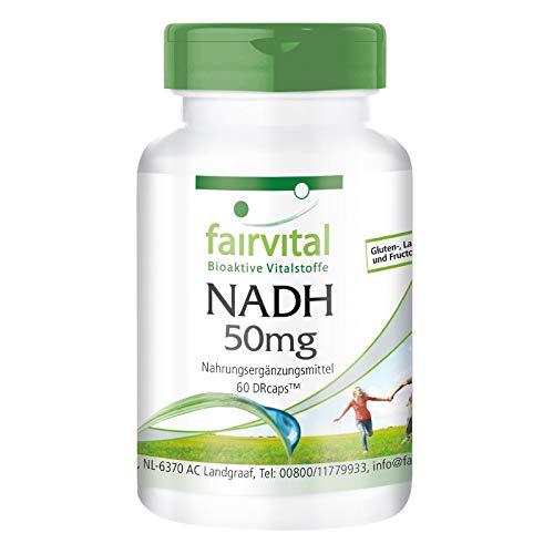 NADH 50mg - HOCHDOSIERT - 60 Kapseln - VEGAN - Coenzym 1 - für 2 Monate - zeitverzögert in DRCaps™