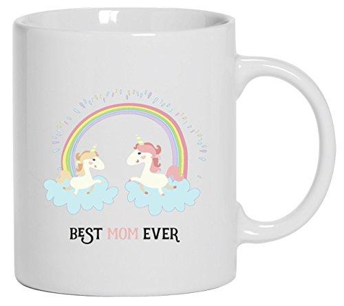Einhorn Muttertag Kaffeetasse Kaffeebecher mit Unicorn Best Mom Ever Motiv von ShirtStreet, Größe: onesize,Weiß