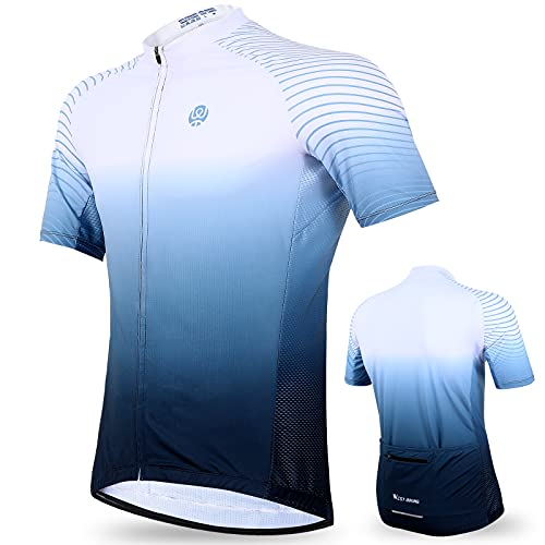 WESTLIGHT Men's Cycling Jerseys, Jersey Ciclismo Hombre, Mountain Bike Jersey with 4 Rear Pockets, Bike Shirts for Men, Cycling Shirt Moisture Wicking and Breathable White-Blue