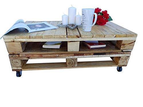 Mesa de palets de madera con ruedas - Mesita Auxiliar & Centro hecha con madera de pallets para Salon & Jardin, terraza, DIY - Estilo rustico, nórdico, escandinavo, farmhouse, retro - Mesas Originales