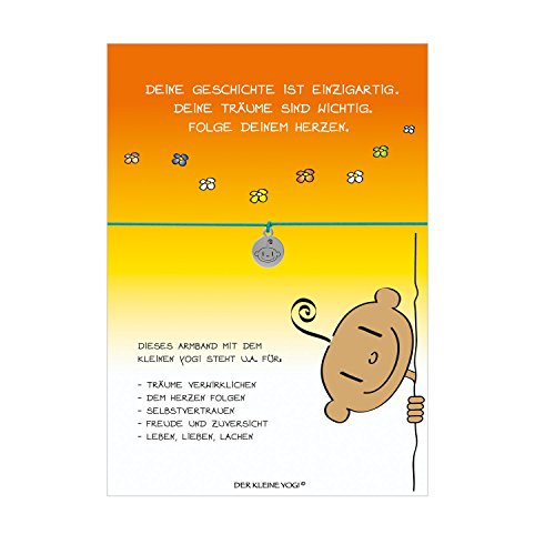 Glücksschmiedin Armband vom Kleinen Yogi mit Yogi Anhänger versilbert, elastischem Textilband in türkis und liebevoller Karte: Folge Deinem Herzen.