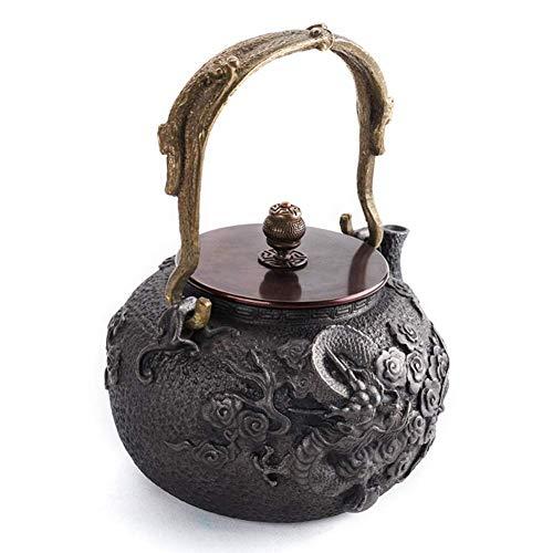 Infuser Theapot Tea Tea - Hervidor de té de hierro fundido con asa de aislamiento, para té de hojas sueltas y bolsa de té, 1200 ml, color negro