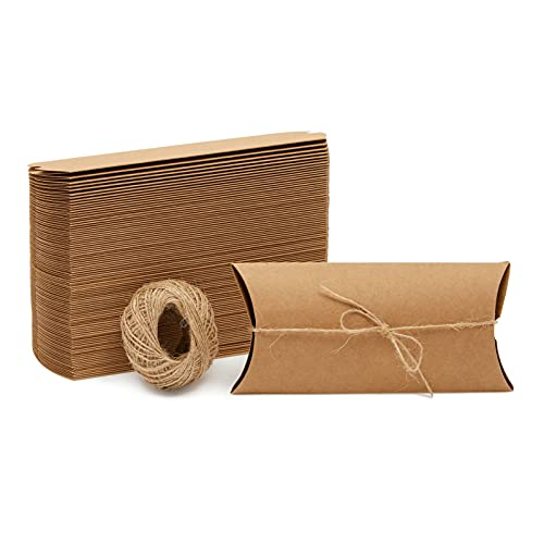 100 Pack Kraft Pillow Boxes with Twine for Jewelry, Wedding, Party Favors, Gift Cards (7.5 x 3.7 In)