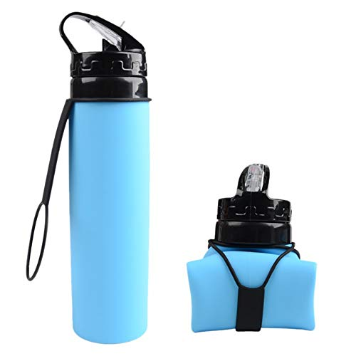 AP Outdoor Collapsible Water Bottle | Folding Travel Bottle with Straw | 20oz BPA Free (Blue)