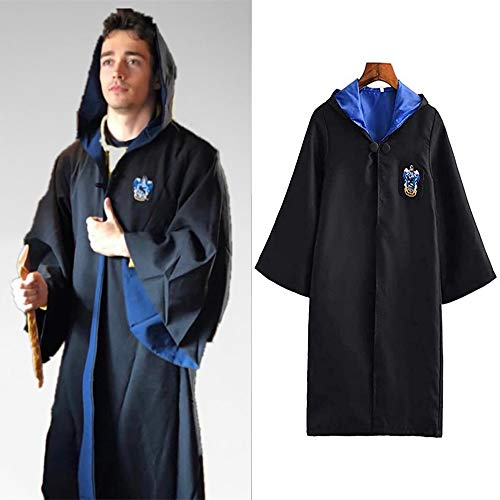 Deciduous Disfraz de Harry Cosplay para adultos, capa de Ravenclaw, corbata, disfraz de carnaval, para mujeres, hombres, túnica mágica magia, disfraz de Halloween, carnaval, fiestas, hombres, XL