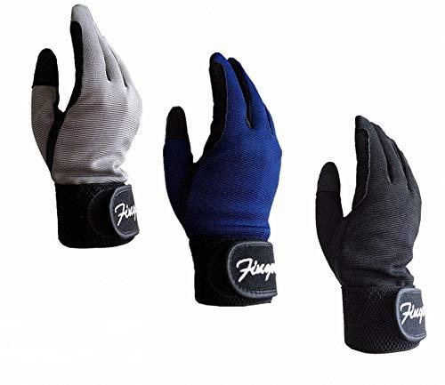 FINGER TEN Reithandschuhe Kinder Jungen Mädchen 4-15 Jahre Comfortable Grip Paar Reiten Reitsport Handschuhe Für Kind Frühling Sommer Alle Wetter (Grau, S(Age5-7) 14.5-15.5CM)