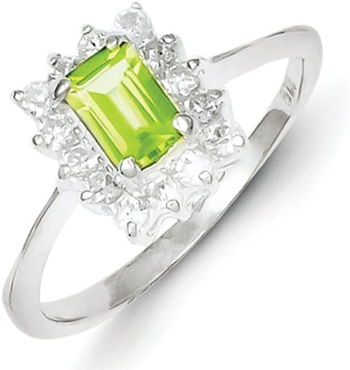 gold and Watches Sterling Silver Peridot & CZ Ring