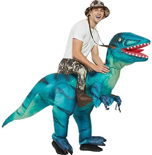 SXXJ Erwachsene aufblasbare Dinosaurier Kleidung Halloween Weihnachtskostüme gehen Cartoon Tier Reittiere Overlord Dinosaurier Velociraptor aufblasbar-Blau