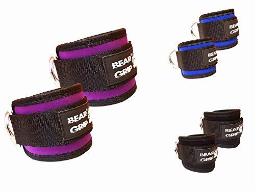 BEAR GRIP enkelbandjes voor kabels (paar) - Sterke sluiting, Dubbele RVS D-Ring, Verstelbaar Neopreen - Premium enkelmanchetten om Abs, Glute & Beentrainingen te verbeteren - Voor mannen & vrouwen