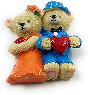 Shiani Handpainted Teddy Couple Poly Resin Fridge Magnet (Blue & Orange)