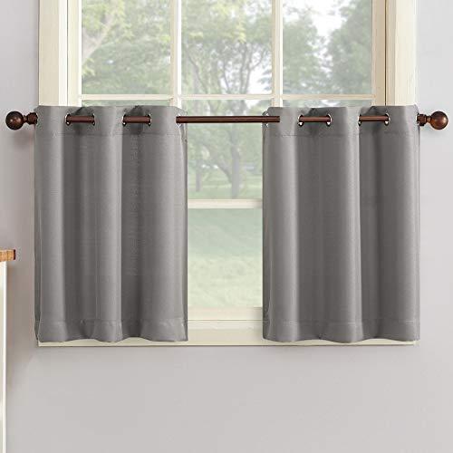 """No. 918 Montego Grommet Textured Kitchen Curtain Tier Pair, 56"""" x 36"""", Nickel Gray"""
