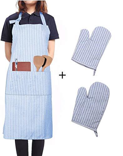 LessMo Schürze mit Handschuhe, aus 100% Baumwolle, Kochschürze und Grillschürze in Profiqualität mit verstellbarem Nackenriemen, 70 x 80 cm(Blau)