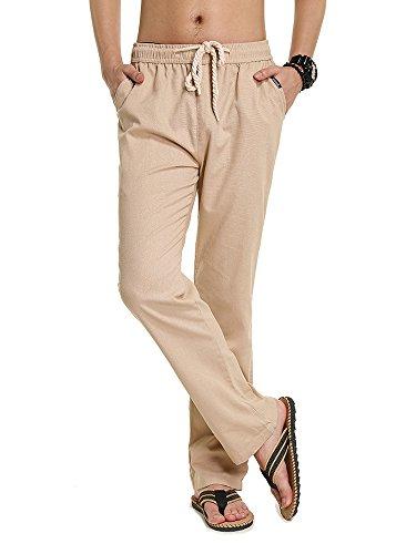 SOIXANTE Homme Pantalon en Mélange Coton Lin Coupe Large Décontracté Léger Confortable Respirant,180425-Beige,XX-Large( 4XL):tour de taille:102-110CM