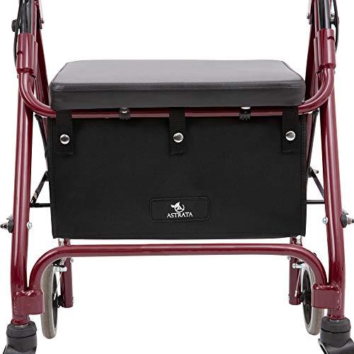 Extra Large Walker Underseat Bag - Rollator Accessories - Under Seat Storage Pouch (Black)