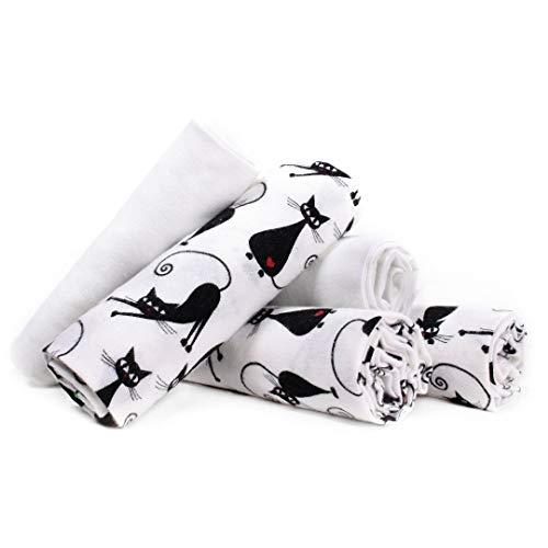 LULANDO Stoffwindeln und Moltontücher 70x80cm (5er Set). Waschbare Windeln und Spucktücher für Ihr Baby. Farbe: Kätzchen