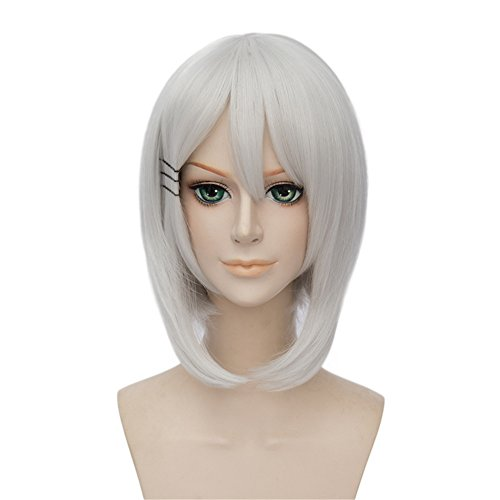 LanTing Cosplay Perruque Strike The Blood Silver White Parrucca Corta Styled Femmes Cosplay Party Fashion Anime Human Costume Full wigs Synthetic Cheveux Heat Resistant Fiber