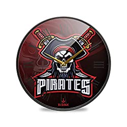 FVFV Red Sword Pirates Skull Wall Clock Round Plate Silent Non Ticking Circular Clock for Kitchen Home Office School Kid Boys Girls Decor