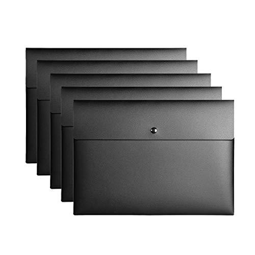 VANRA - Cartellina portadocumenti in plastica con tasche piatte per documenti, con chiusura a scatto, formato A4 Confezione da 5 Nero