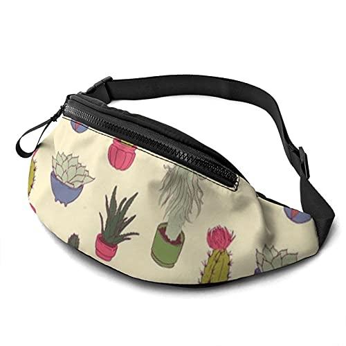 Cacti Pot On Waist Pack Bolsa con agujero para auriculares, Fanny Pack para hombres y mujeres con correa ajustable para exteriores, ver imagen, Talla única,