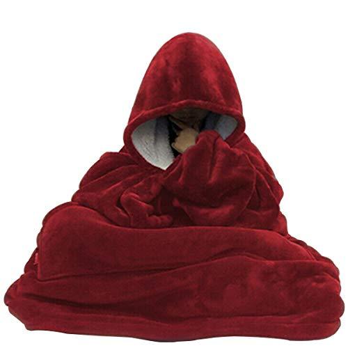 C Hello Cloud - Sudadera con capucha (tamaño grande, reversible, talla única) rojo L