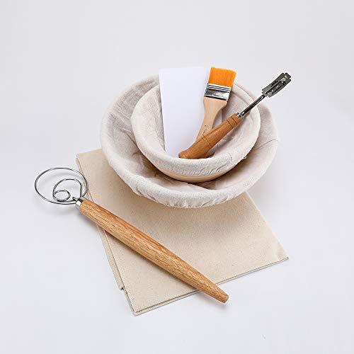 7 / 8PCS A Prueba de fermentación Cesta de ratán Pan de Masa con Arco Cuchillo Cuchilla Cepillo raspador (Color : 7pcs Set B)