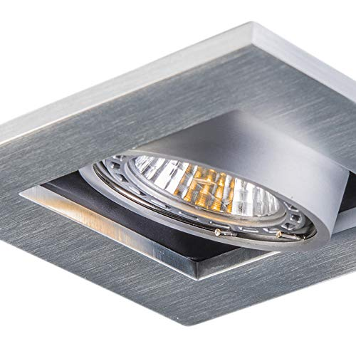 QAZQA Moderno Set 10 focos empotrados aluminio - QURE Cuadrada Adecuado para...