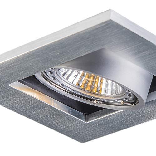 QAZQA Moderno Set 10 focos empotrados aluminio - QURE Cuadrada Adecuado para LED Max. 10 x 50 Watt: Amazon.es: Iluminación