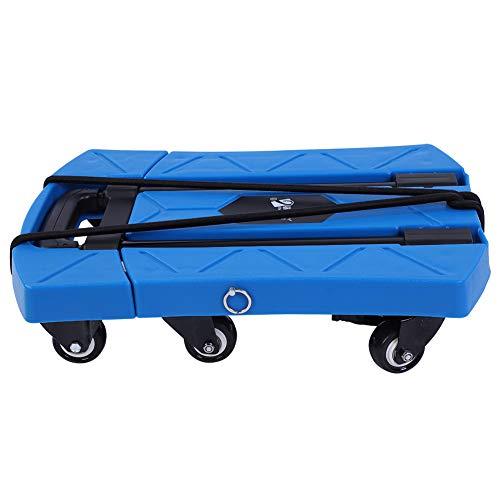 Teleskopgriffwagen Tragbarer Sackkarre/Handwagen Teleskopgriffwagen bis 400kg Faltbar 6 Räder Blau