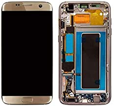 Replacement Part for Galaxy S7 Edge G935A G935T G935V G935P LCD Display Digitizer Touch Screen + Frame Assembly (Gold)