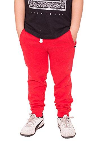 NOROZE Jungen Fleece Vlies Hose Jogginghose (Rot, 7-8 Jahre)