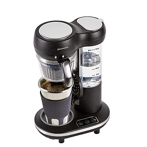 PowerXL Grind & Go, Automatic Single Serve Coffee Maker with Grinder Built-in and 16 oz. Travel Mug, Single Cup Drip Coffee Machine, Stainless Steel Blades, CL-004, Black