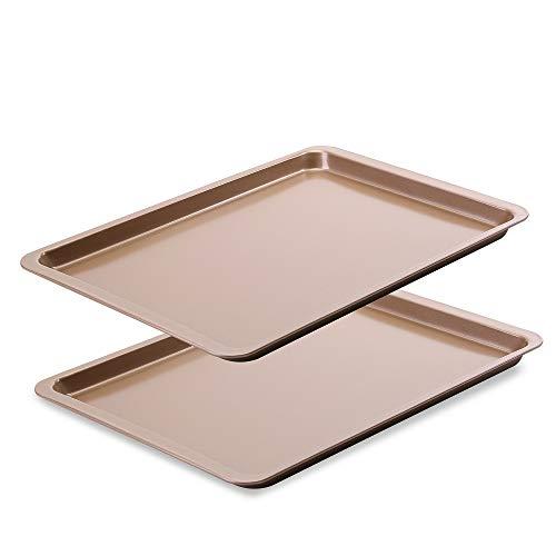 Latauar Premium Baking Sheet, Bakeware Set of two, Cookie Sheet Half Sheet Baking Pan Stainless Steel, 14.5 Inch x 10 Inch, Non Toxic & Healthy – 2 Pack